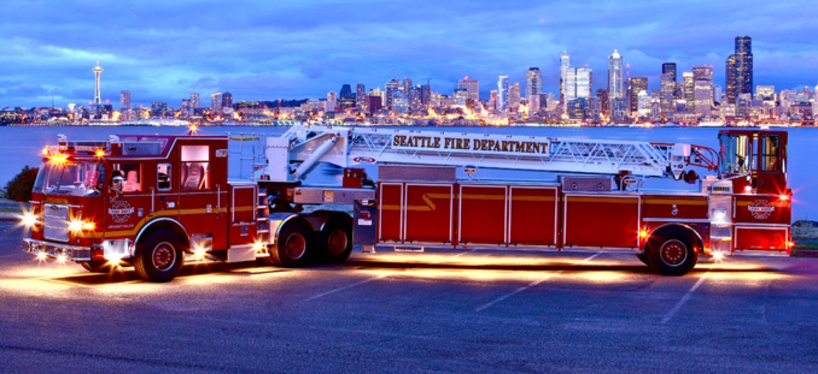 firetruck in front of city of seattle